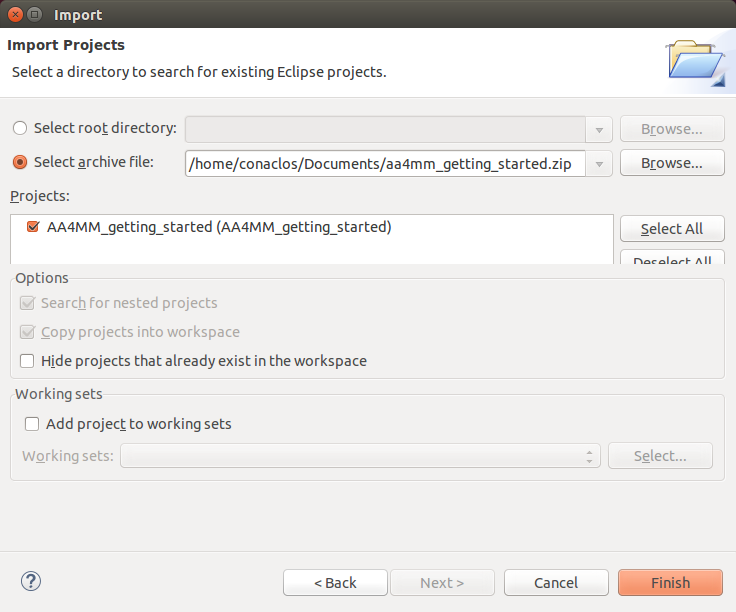 Import archived eclipse project