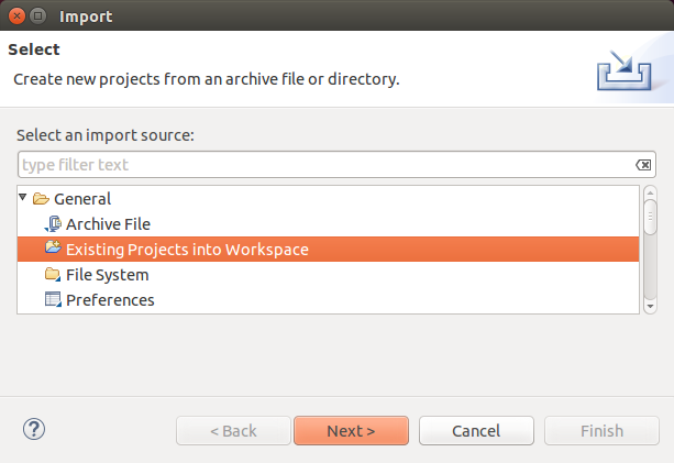 Import existing eclipse project